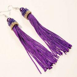 Długie fioletowe kolczyki z frędzlami
