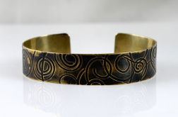 Mosiężna bransoleta - zawijasy - cienka IV