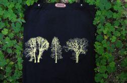 Drzewa - czarna torba bawełniana