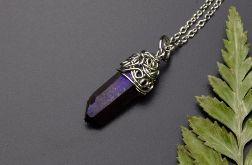 Wisiorek talizman kwarc tytanowy fioletowy