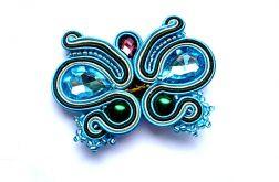 Broszka motyl sutasz z kryształkami