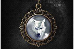Medalion, naszyjnik - Biały wilk - brąz