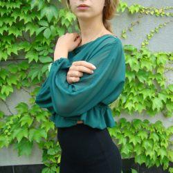 bluzka szyfonowa butelkowa zieleń
