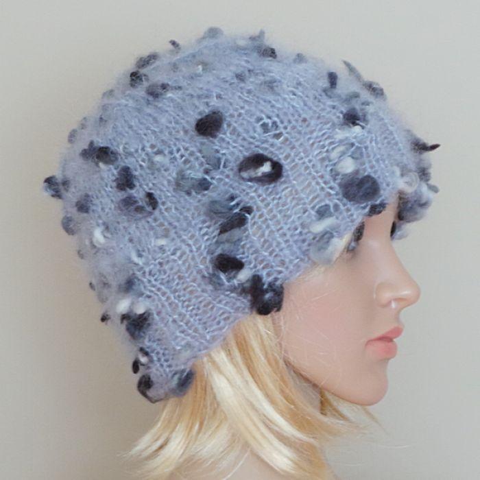 Perłowa moherowa czapka