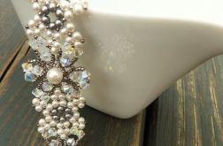 Bransoletka biało-srebrna