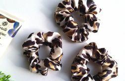Scrunchie satynowa panterka