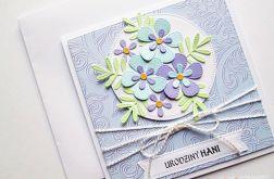 Kartka URODZINOWA błękitno-fioletowa