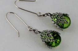 Zielone w siateczce - kolczyki
