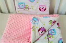 Sówki / jasno różowy minky Kocyk + poduszka