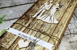 Ślubna kartka z motywem drewna 09