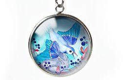 Blueberry bird naszyjnik z ilustracją