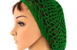 plażowa siatka na włosy w kolorze trawiastej zieleni