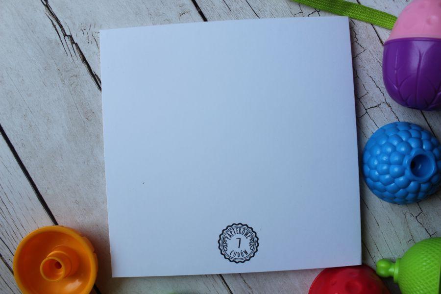 Miś na niebieskim tle - Tył kartki