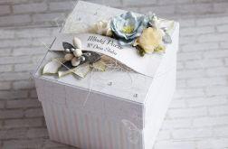 Ślubny pastelowy box szary, niebieski, beż