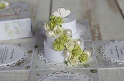 Romantyczny exploding box ślubny z tortem 3