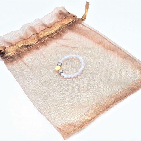 Pierścionek elastyczny - angelit, hematyt