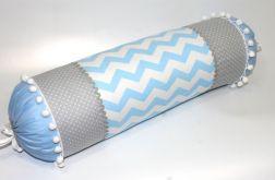 Poduszka wałek 50/15 cm błękitno-szary