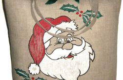 Lniana torba z motywem świątecznym