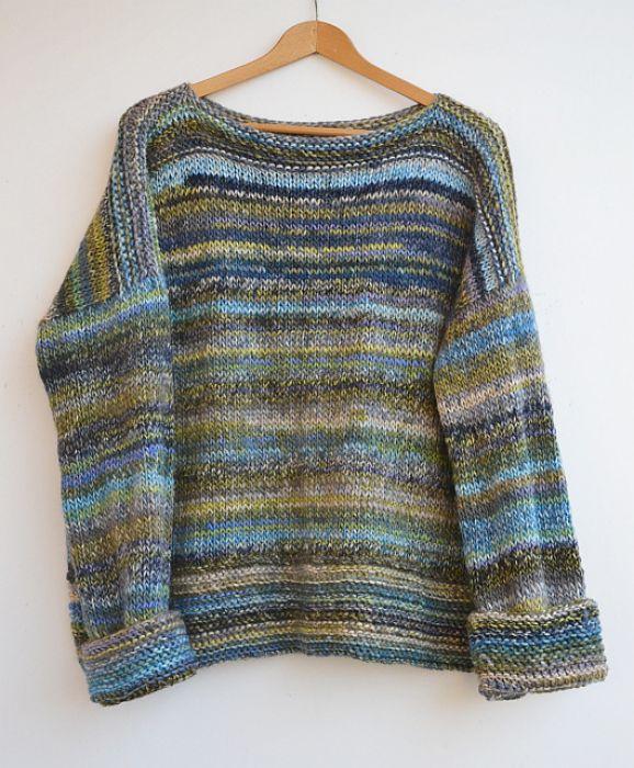 Melanżowy sweterek oversized mech i oliwki