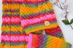 Komplet czapka, komin i mitenki kolorowe