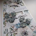 Kartka urodziny, imieniny, biało niebieska -