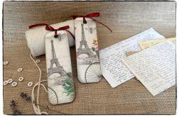 ~Od Ani~ DECOUPAGE Zakładka do książki ~Paryż, Francja, Wieża Eiffla~