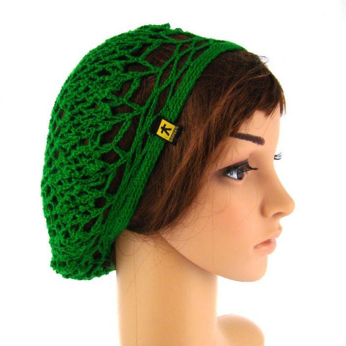 plażowa siatka na włosy w kolorze trawiastej zieleni -