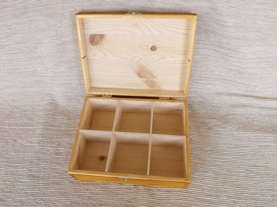 Herbaciarka malowana 6 przegródek - Astry - wnetrze