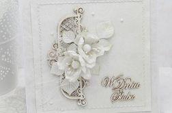 Ślubna biel i kwiaty - komplet z pudełkiem