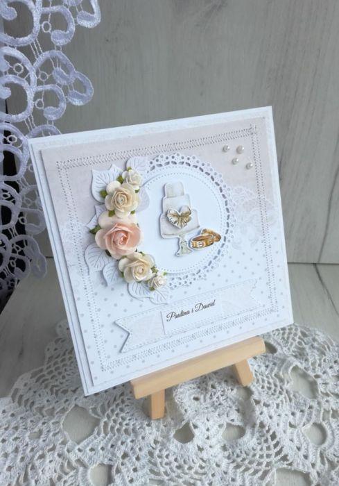 Kartka ślubna 3D First Love z tortem GOTOWA