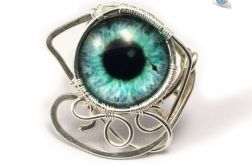 Turkusowe oko srebrny pierścionek regulowany