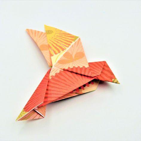Magnes na lodówkę origami ptaszek rózowo-żółty