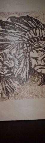 piekny drewniany obraz recznie wypalany
