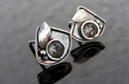 Kolczyki srebrne z kwarcem z turmalinem
