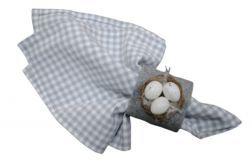 Serwetka bawełniana - 40x40 cm szara krateczka