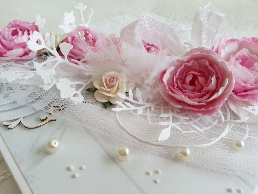 Kartka ślubna z peoniami