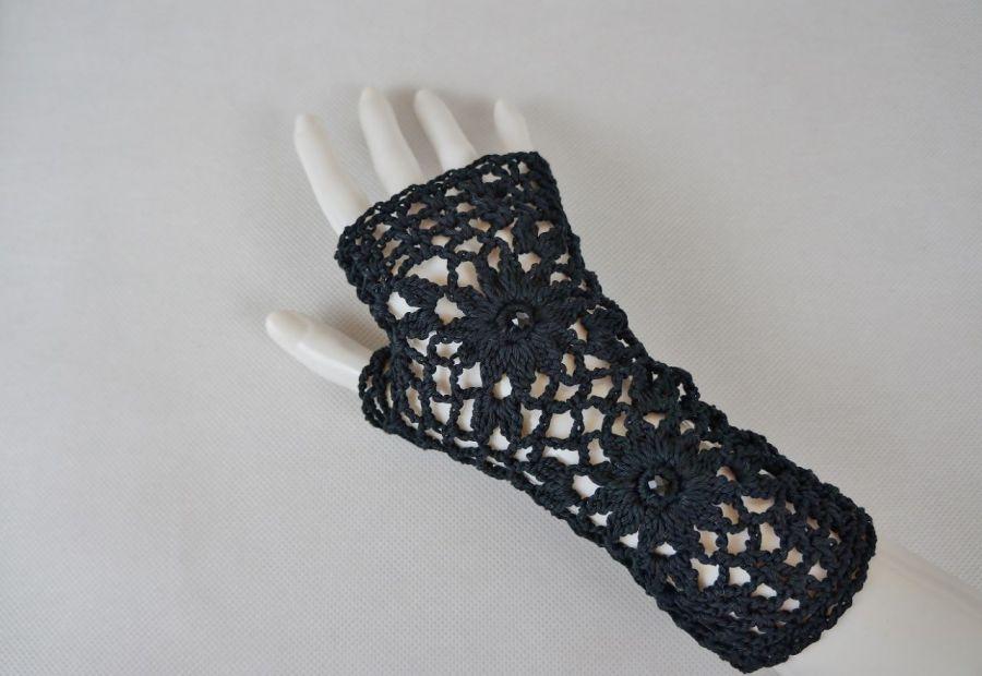Rękawiczki, mitenki handmade czarne - rękawiczki ręcznie robione