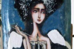 Niebieski anioł z wstążką - obraz na desce