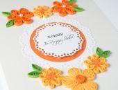 Piękna kartka na rocznicę, Quilling, kolor pomarańczowy