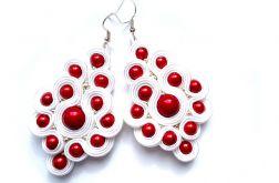Kolczyki Ślubne Sutasz w bieli i czerwieni