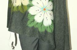 Khaki szal filcowany wełną zdobiony