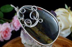 Hematyt, srebrny wisior z hematytem czerń
