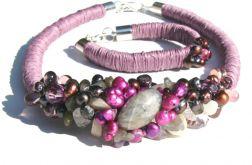 Naszyjnik z lnu i kamieni naturalnych Reiko
