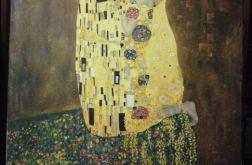"""Kopia obrazu Gustawa Klimta""""Pocałunek"""" wykonana przez Andrzeja Masianisa absolwenta Wydziału Sztuk Pięknych UMK w Toruniu. Format obrazu 70/70 cm ,technika- olej na płótnie ."""