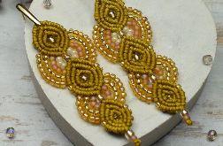 Długie kolczyki w odcieniach miodowo -złotym