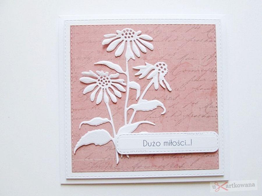 Kartka ŚLUBNA koralowo-biała - Kartka Ślubna koralowo-biała