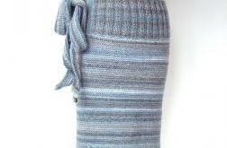 spódnica dzianinowa w szarościach, z wiązanką:)