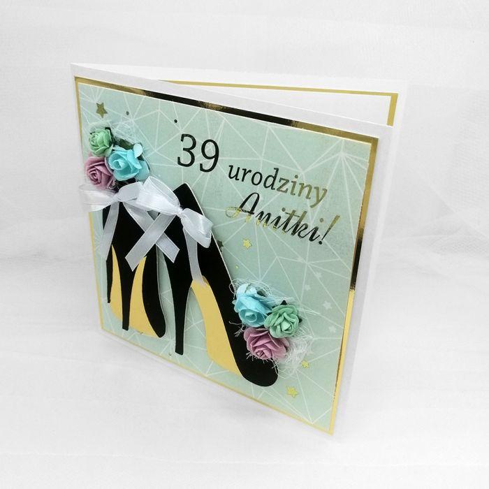 Kartka dla kobiety czarne szpilki PDK 057