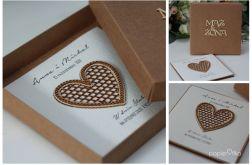 Rustykalna kartka ślubna z pudełkiem 14x14