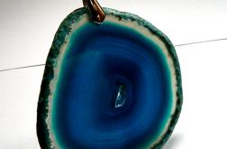 Niebieski agat w ramce, duży plaster, wisior